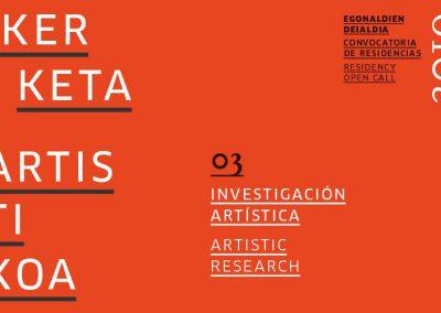 Residencia para PROYECTO DE INVESTIGACIÓN ARTÍSTICA 2019 en Tabakalera